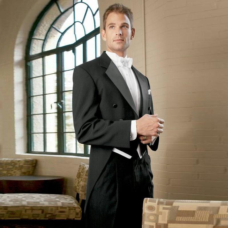 Vintage Black Tailcoat Men Suits For Wedding White Vest Groom Tuxedos Man Long Jacket 3Piece Terno Masculino Groomsmen Suit