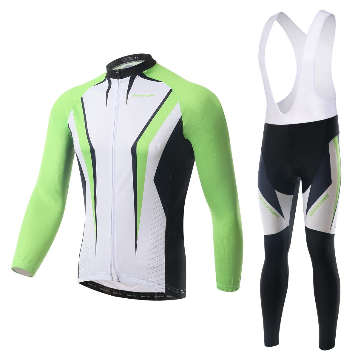 XINTOWN 2018 Men Spring Bib Sets Anti-Wrinkle Long Sleeve Cycling Jersey Ropa Ciclismo Quick Dry Cycling Jersey Bib Sets
