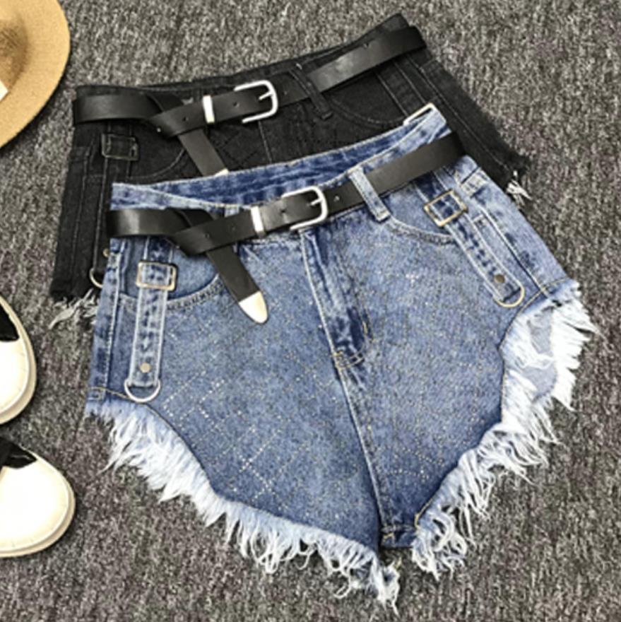 High Waist Denim Shorts Diamond Women 2020 Summer Tassel Loose Wide Leg Jeans Shorts