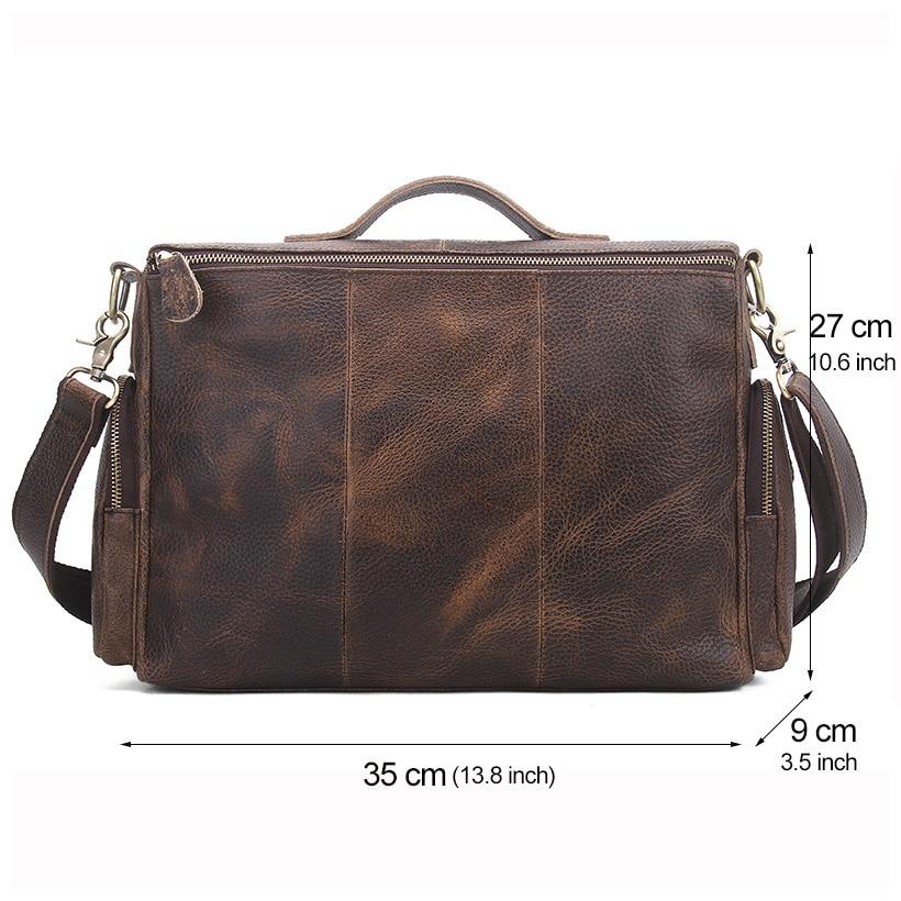 0a5530b8233 Genuine Leather Man Bag Vintage Big Totes Handbags Men Messenger ...