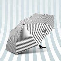 Черное Покрытие Анти-УФ Складной Зонт Автоматический Открывать Автоматически Закрывать Мужской Зонтик Дождь Женщины Мода Полосой Зонтик