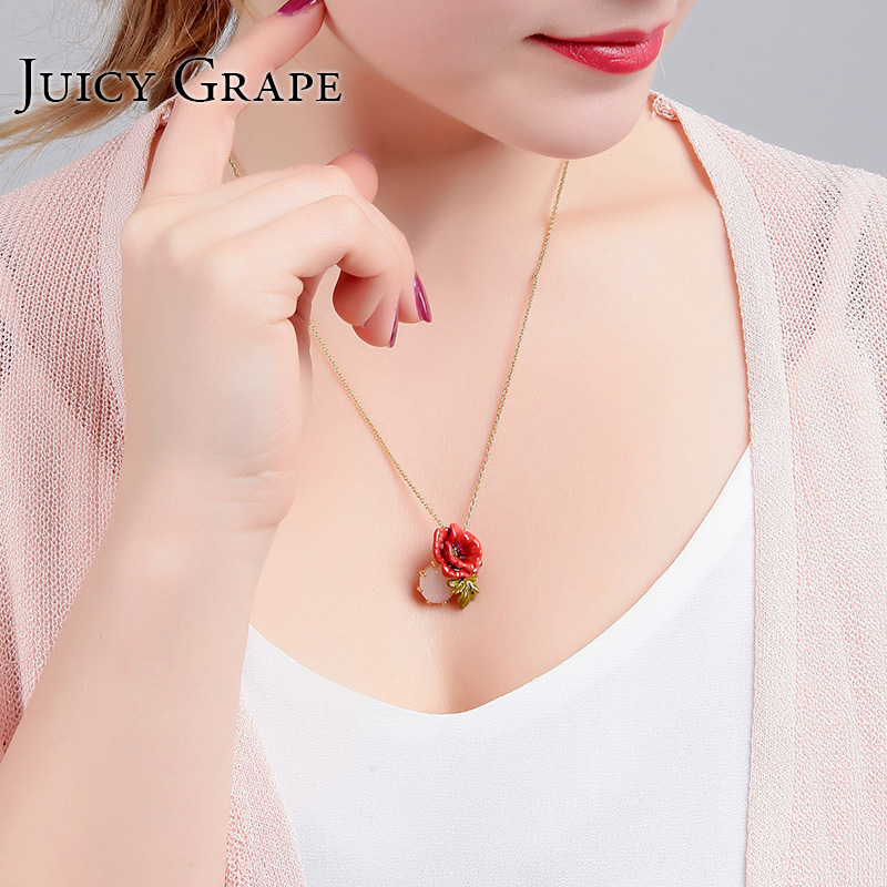 2017 Fashion Enamel Noble Elegant Rose Necklace For Women Gold Clavicle Chain Lover Gift Jewellery Collares DropShipping collier