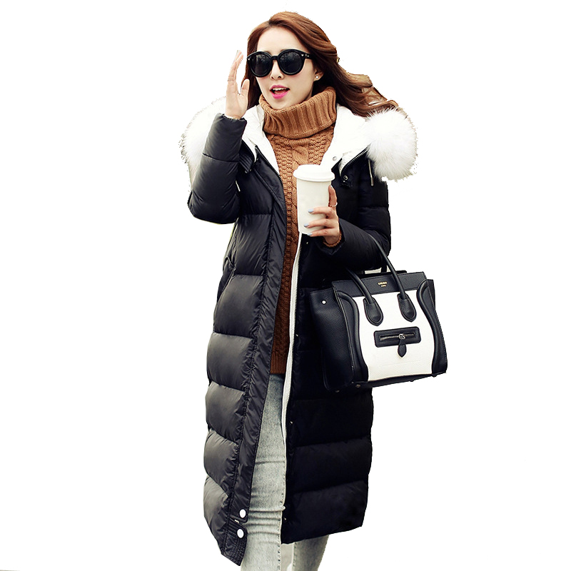 78e11a3ba9d89 Large Size New Winter Long White Duck Down Jacket Coat Women Casual Big Fur  Collar Padded Warm Outerwear Parka Female YC617