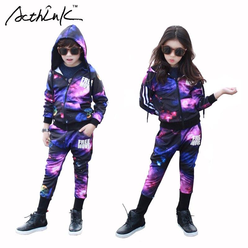 ActhInK Kids Starry Sky Performance Costume for Boys Hooded Zipper Sweatshirt&Long Letter Trouser Clothing Set for Girls , MC132 plus size letter print hooded sweatshirt dress