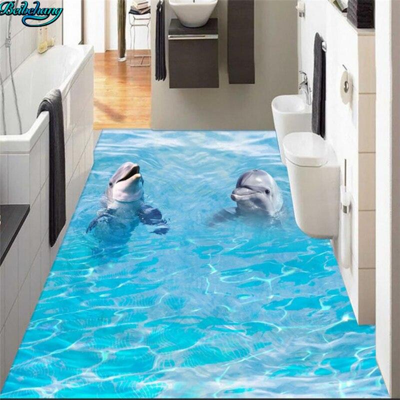 Beibehang grand plancher personnalisé paire de dauphins 3D océan plancher cuisine toilette salle de bains chambre peinture décorative - 4
