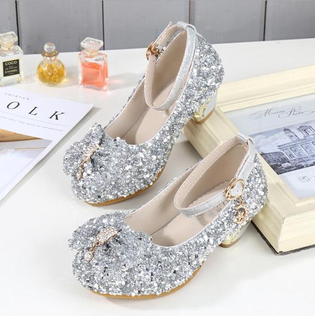 2e1b2ab698c5 Children Princess Sandals Kids Girls Wedding Leather Shoes High Heels Dress  Shoes Bowtie Purple Shoes For Girl Silver Pink