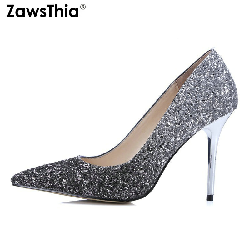 ZawsThia genuine leather insole bling women high heels prom wedding shoes Glitter sequin bridal shoes thin heel party pumps ZawsThia genuine leather insole bling women high heels prom wedding shoes Glitter sequin bridal shoes thin heel party pumps