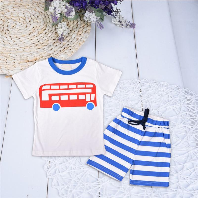 2017 Hot sale Baby Boys Sets Summer Boys Sets Clothes T shirt+short Pants Cotton Sports Train Printed Set Children Suit 2-6T