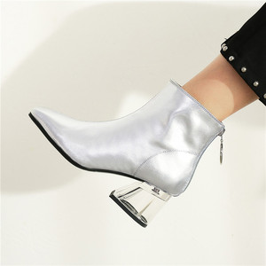 Image 5 - FEDONAS Autumn Winter Fashion Genuine Leather Women Ankle Boots Back Zipper High Heels Party Night Club Shoes Woman Short Boots