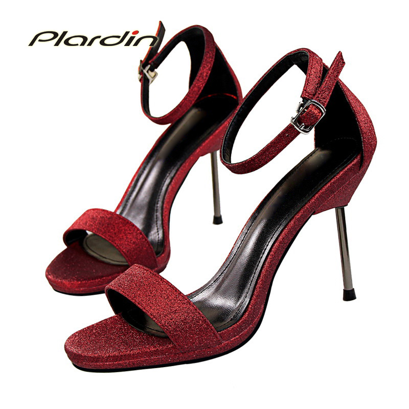 plardin 2017 Summer Fashion Shoes Woman Bling Ankle Strap Belt sandals Platform Buckle Strap Women Party Thin High Heel Pumps xiaying smile summer new woman sandals platform women pumps buckle strap high square heel fashion casual flock lady women shoes