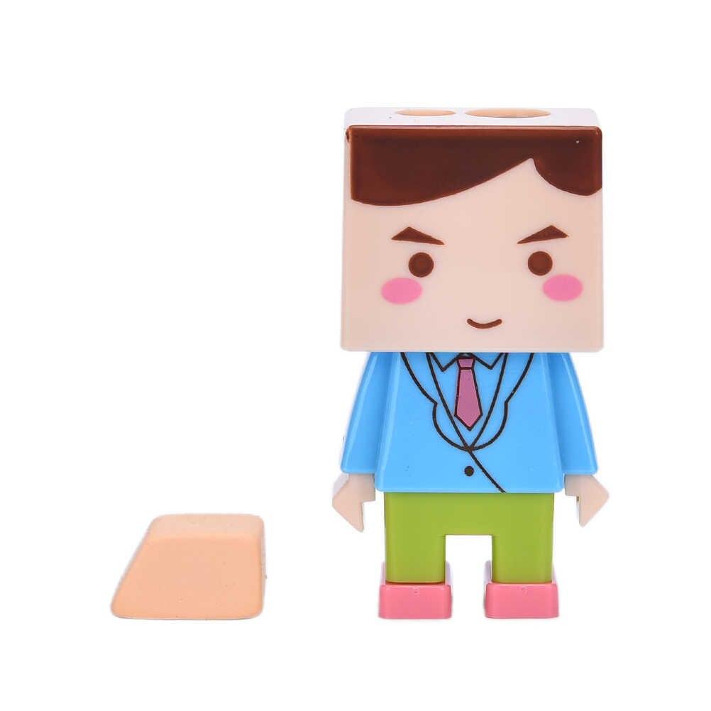 Квадратная кукла дизайн два отверстия карандаш набор-точилка с ластиком креативный детский подарок приза офисные школьные канцелярские принадлежности