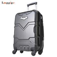 Малыш Бэтмен Сумки на колёсиках чемодан сумка, Колёса вести с замком, 20 24 28 дюймов высокой емкости Пластик travel box