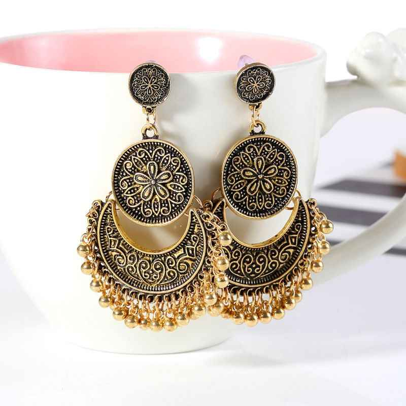 1 par étnico Bali Jhumka Jhumki brocado de oro loto México gitano cuelga pendiente joyería de moda regalos de navidad