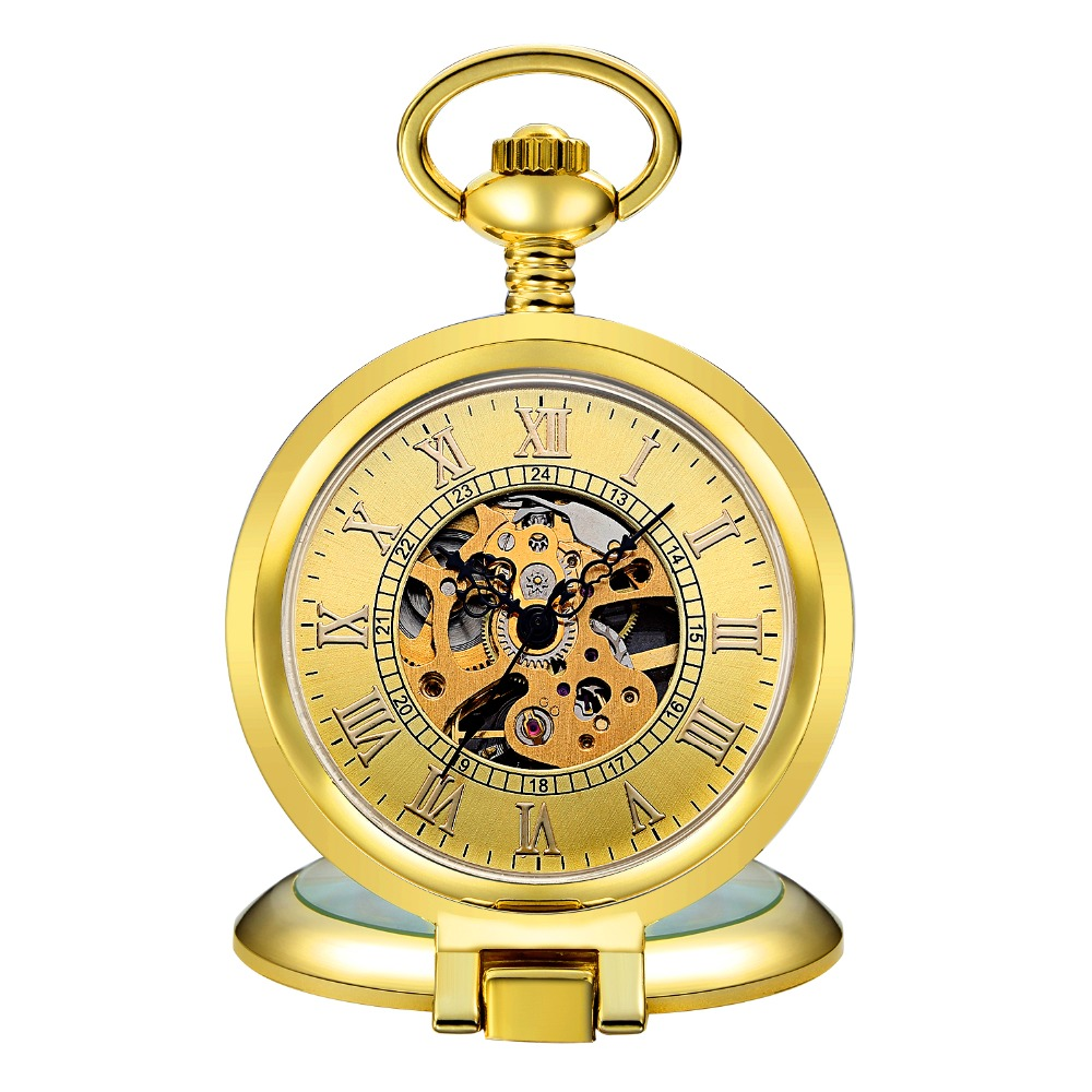 Mens pocket watches with chain images mens gold pocket watches gifts - New Fashion Steampunk Gold Pocket Watches Mechanical Hand Wind Skeleton Dial With Chains Super Cool Men S Gift