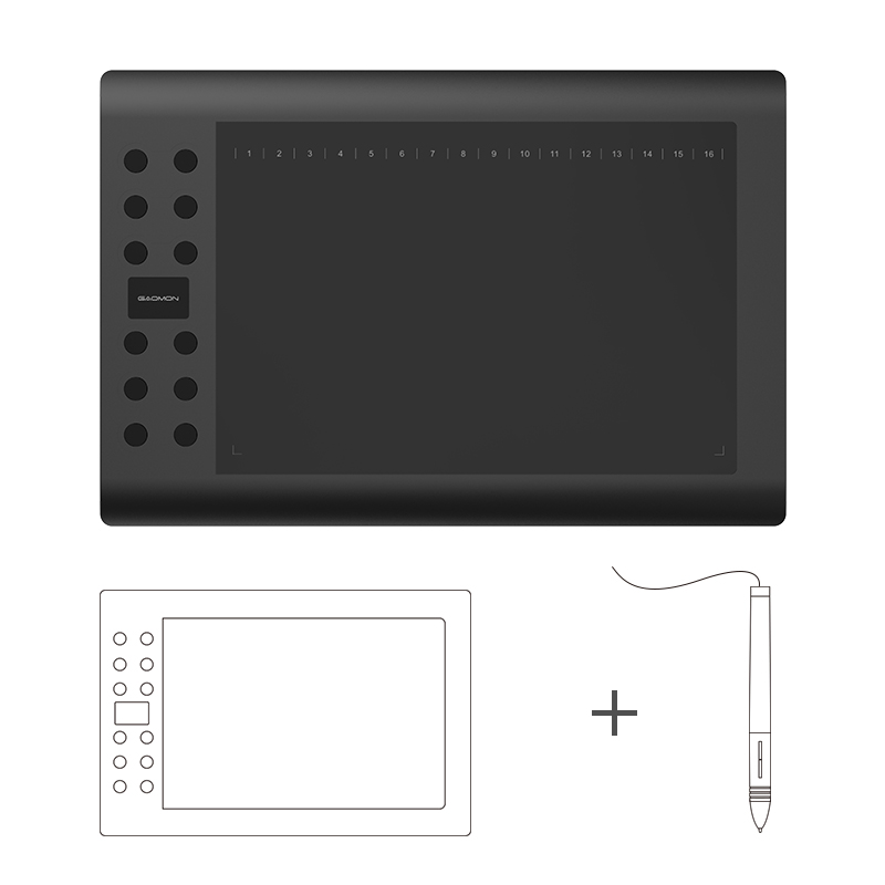 Original GAOMON 12 Express Keys M106K USB Digital DrawingTablets for Photo Editing Comic Drawing with Rechargable Pen