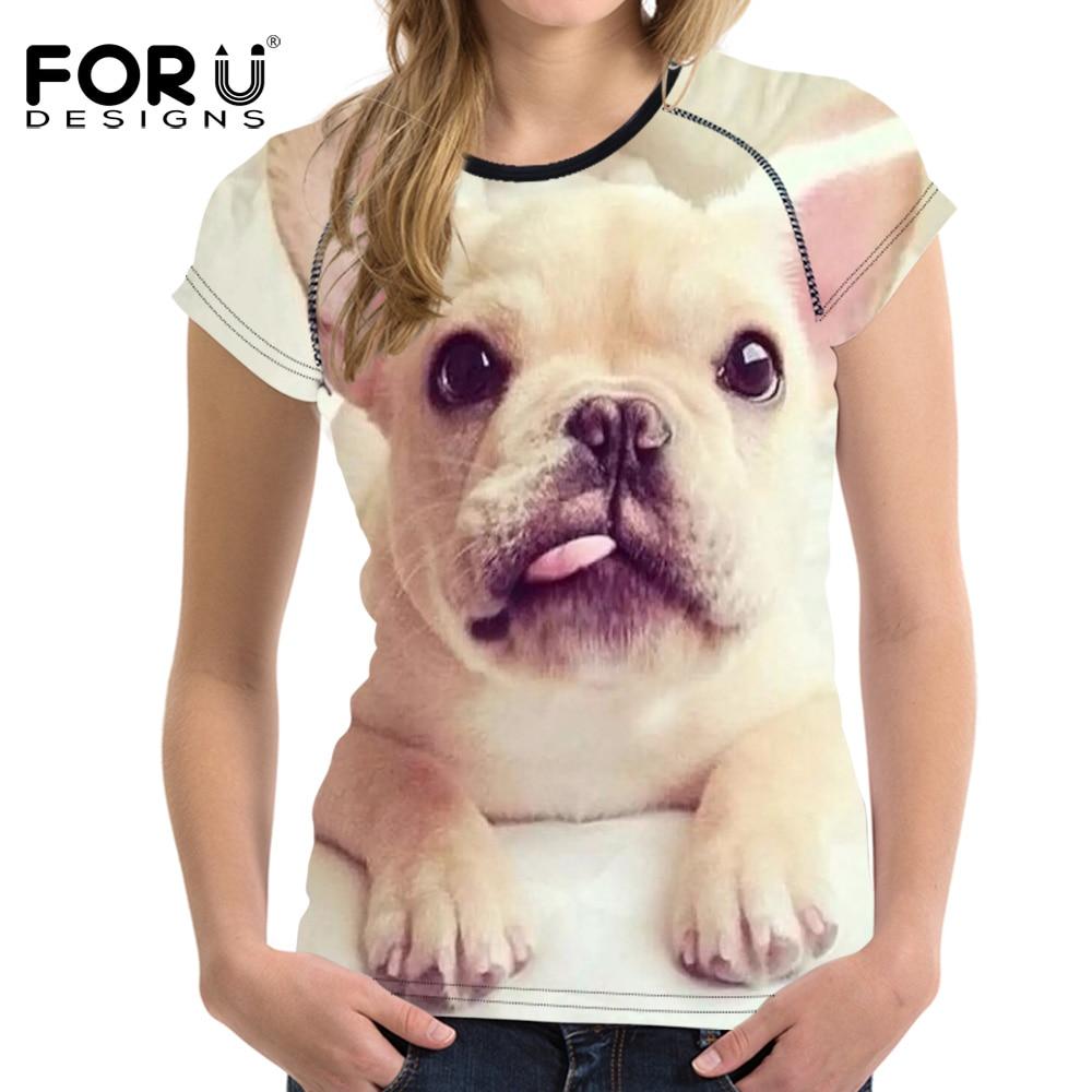 FORUDESIGNS Kawaii BullDog Cetak T Shirt Untuk Wanita Lengan Pendek - Pakaian Wanita - Foto 5