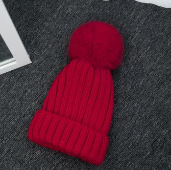 Haute qualité grand 16 cm réel renard fourrure pompon Beanie chapeaux tricotés Chapeau d'hiver Pour Femmes Filles Bonnet de Laine Tricoté Coton Bonnets Casquettes - 5
