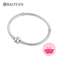Baoyan 100 Geniune 925 Sterling Silver Stamp Queen Of Heart Snake Chain For Women Bracelets For