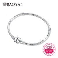 Baoyan 100% Geniune 925 Sterling Zilver Stempel Koningin van Hart Snake Ketting voor Vrouwen Armbanden voor Europese Charms N1 17-22 CM
