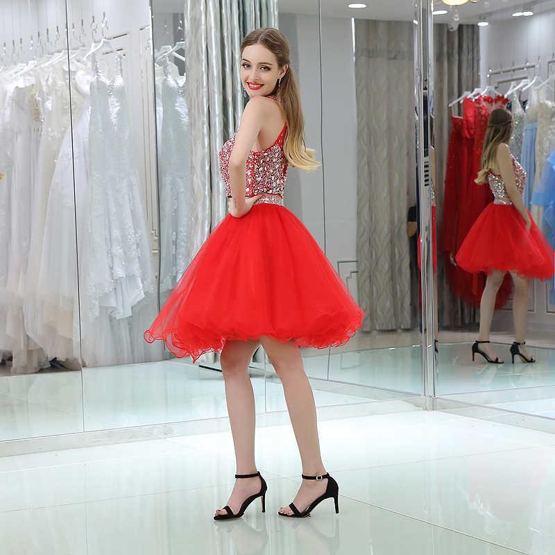 Vestidos rojos para reunión de ex alumnos 2019, vestido de baile con escote con lentejuelas de cristal, vestido corto para graduación de 8 ° grado para fiesta, vestido para niñas
