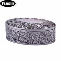 PEANDIM Ornate Antique Jewelry Box Engraving Small Metal Trinket Storage Box Princess Jewelry Box For Wedding