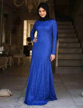 Elegant Arabic Hijab Evening Dresses Straight Floor Length Long Royal Blue Lace Long Sleeve Muslim Evening Dress