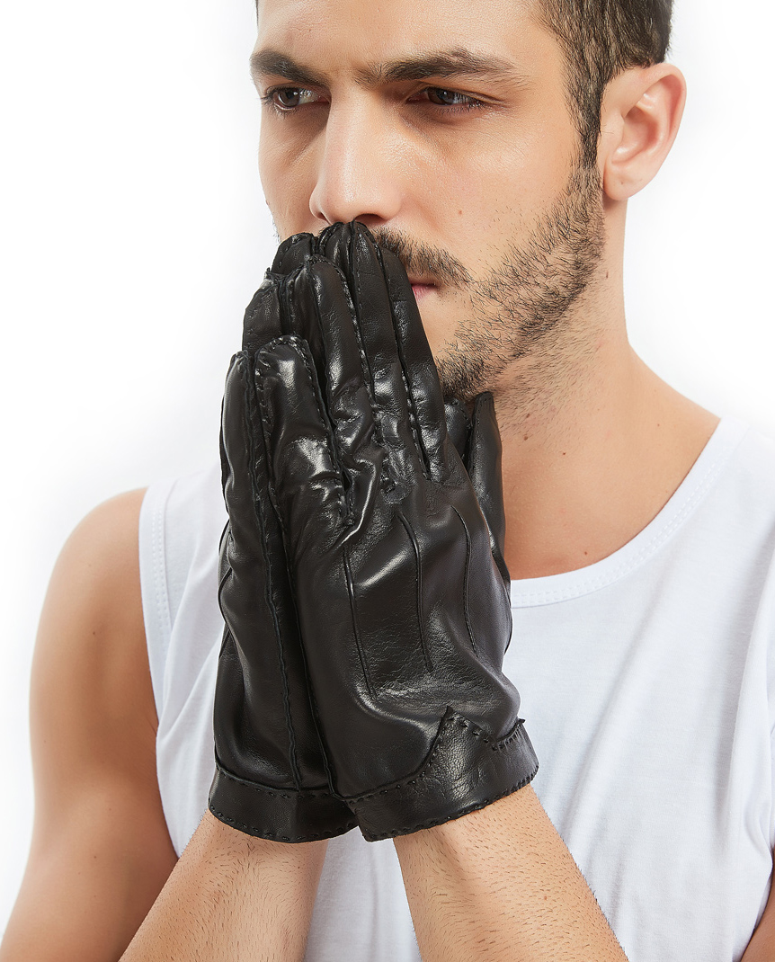 KIMOBAA men cool out stitching cool real Italy leather motor motor gloves
