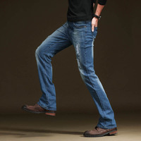 2018 New Brand Man Flare Jeans Boot Cut Leg Flared Denim For Men Slim Fit Jeans Denim Pants Male Patch Bell Bottom Trousers