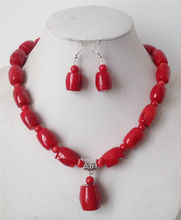 Charming!Huge Pink Coral Column Form Beads Necklace Earrings Set >> plated watch wholesale Quartz stone CZ crystal