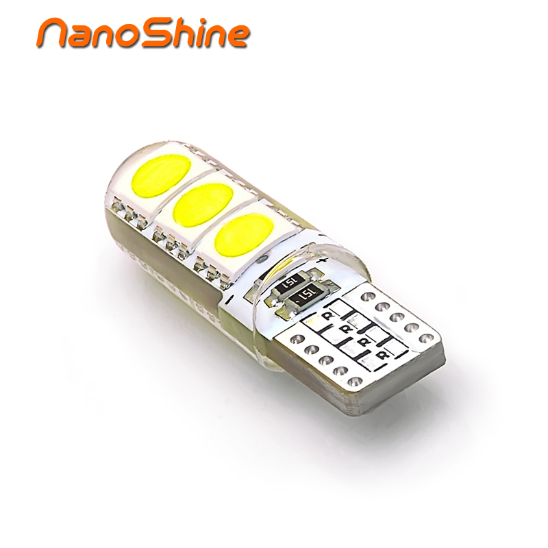Nanoshine Car W5W T10 LED Bulb 6030 6SMD LED Side Marker License plate Reading Lamp Silica gel Bulb White Lights 4pcs car w5w t10 led light 48 3014 smd side marker lamps warm white clearance lights bulb dc 12v