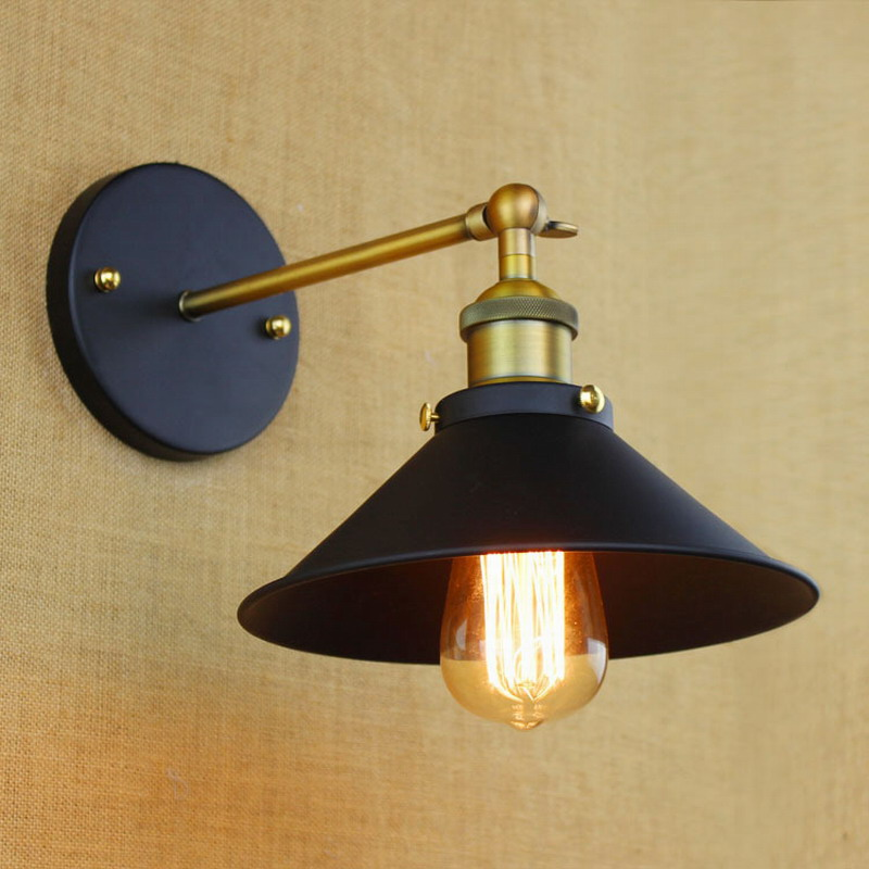 industrial europe style mini Vintage Loft Adjustable antique black Metal Wall Light lamp Sconce Lamp Fixtures for workroom