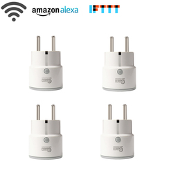 4PCS/lot Smart Plug EU Support Amazon Alexa Google Home,IFTTT Remote Control WiFi Switch Mini Socket Outlet with Timing Function