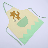 Fashion Kitchen Apron Cotton And Linen Oil Cleaning Work Sleeveless Cartoon Animal Pattern Women Apron With