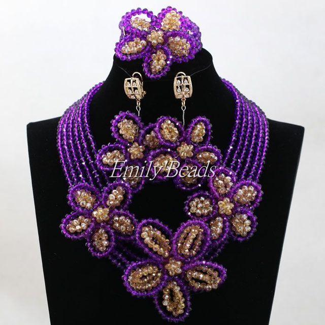 2016 de moda perlas africanas joyería conjunto hechos a mano de nigeria boda del traje africano Set joyería africana gran conjunto ALJ382