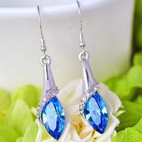 Bahamut 925 Silver Earrings 925 Crystal Long Hook Korea Anti Allergic Earrings For Women The Heart