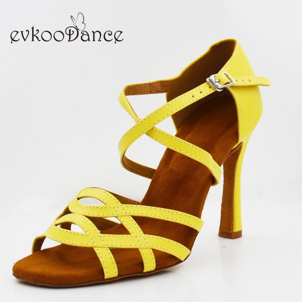 Evkoodance Size US 4-12 Heel Height 10cm Dance Shoes Yellow Color  Professional  Zapatos De Baile  Latin Ballroom Salsa Dance Shoes Evkoo-567