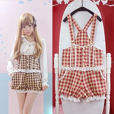 Red Plaid Women Overalls Princess Lolita Girls Overalls Vintage Lace Jumpsuits Bow Bloomers Suspender Shorts Bodysuits