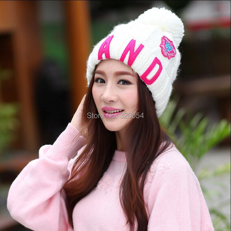 Sell at a loss 1 Pcs 2014 New Winter Warm Knitted Cap Fashion Letters AND Thick Hat For Women 7 Colors MZ1481 Free Shipping