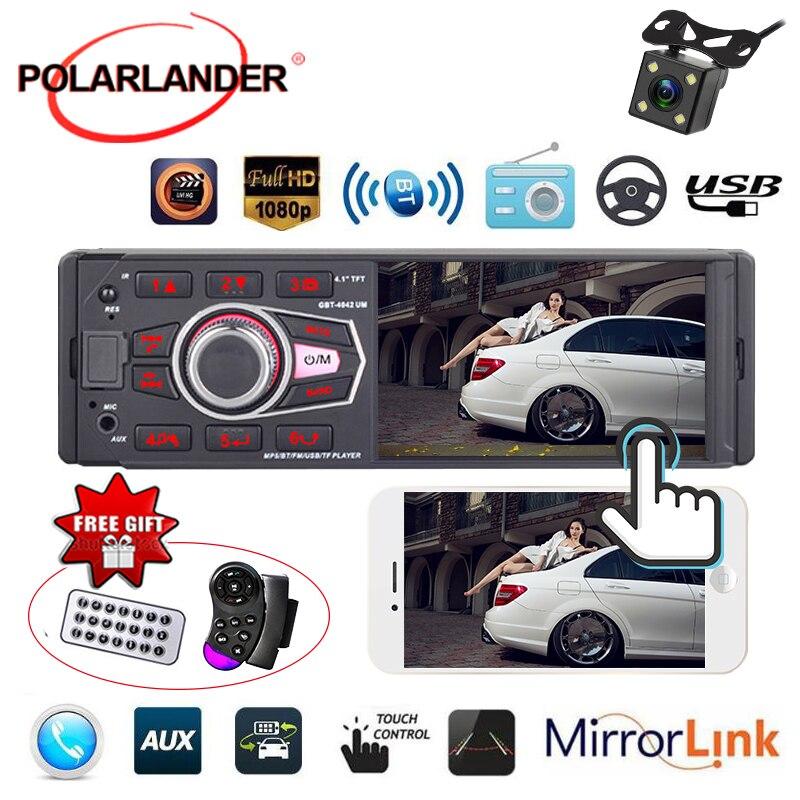 1 Din Car Radio FM USB AUX in SD MP3 Player Bluetooth 4032UM HD Screen Steering