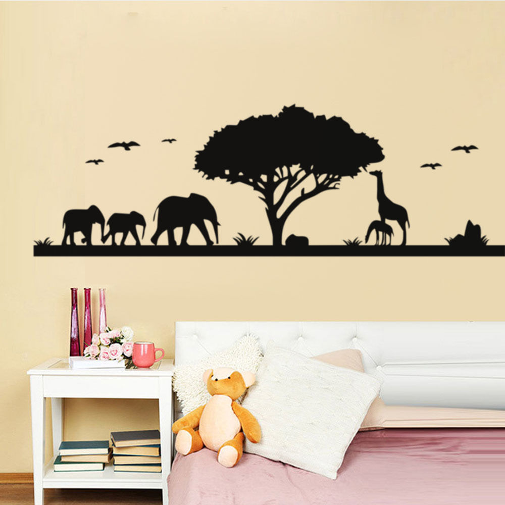 US $10.98 25% OFF|Africa Zoo Wall Stickers Jungle Landscape Elephant  Giraffe Animal Wall Decals Sofa Background Kids Bedroom Wall Decals  SA127B-in ...