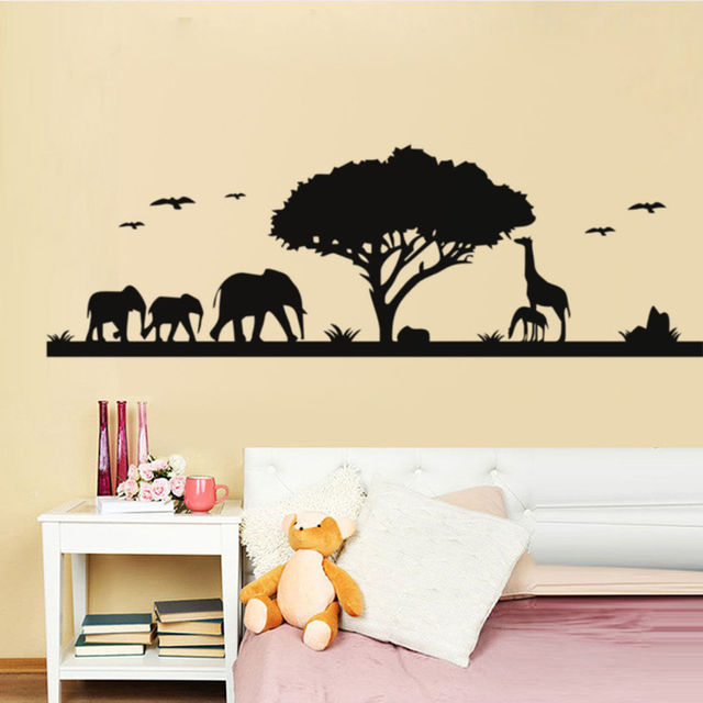 Africa Zoo Wall Stickers Jungle Landscape Elephant Giraffe Animal Wall  Decals Sofa Background Kids Bedroom Wall