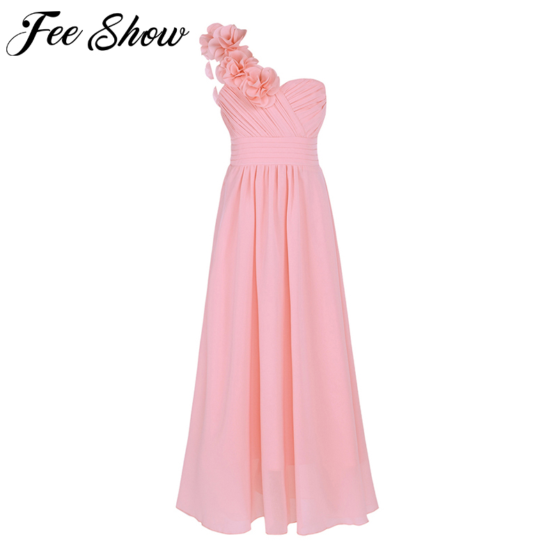 New Arrival Kid Girls Child Flower Chiffon Tulle Lace Dress Party and Wedding Bridesmaid One shoulder Formal Summer Maxi DressDresses   -