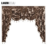 LOZUJOJU Luxury valance drops home rustic decorative short curtain for living room bedroom windows high quality floral design