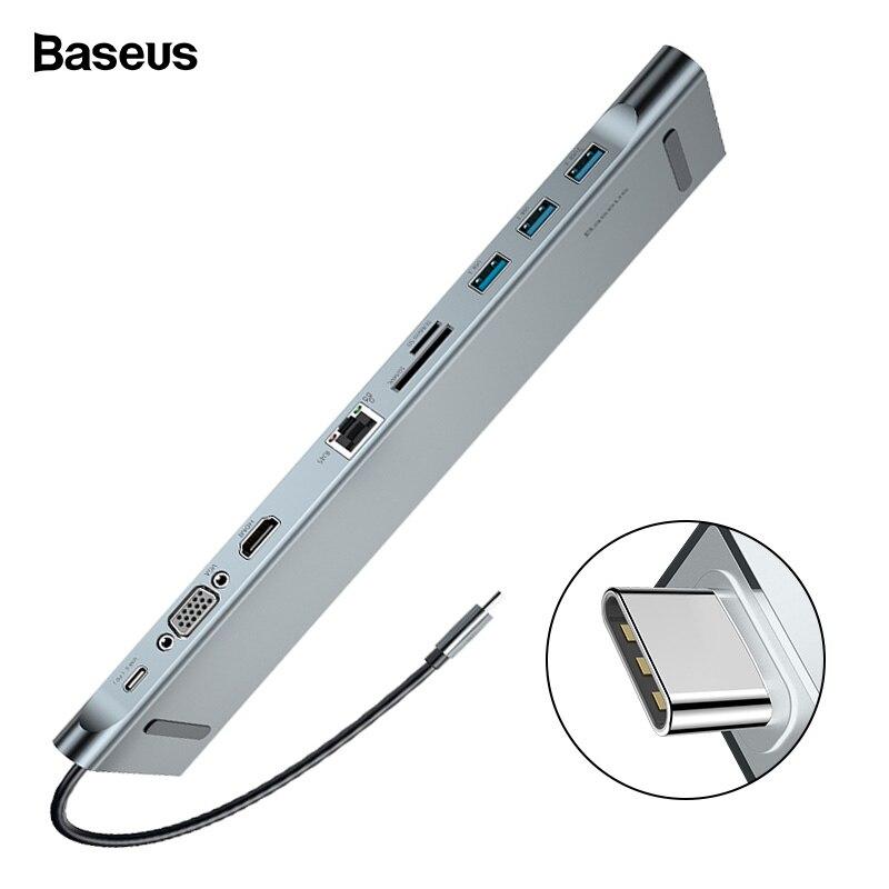 Baseus USB C концентратора Тип C к HDMI VGA RJ45 Multi Порты USB 3,0 USB3.0 Тип-C сплиттер для Macbook Pro воздуха USB-C концентратор адаптер питания