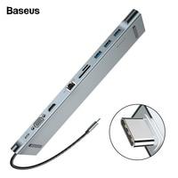 Baseus USB C HUB Type C to HDMI VGA RJ45 Multi Ports USB 3.0 USB3.0 Type C Splitter For Macbook Pro Air USB C HUB Power Adapter