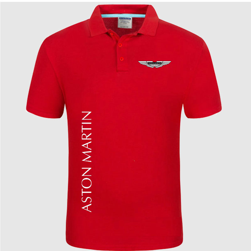 Summer   Polo   Shirt Aston Martin logo Brand Men's Fashion Cotton Short Sleeve   Polo   Shirts Solid Jersey Tops Tees