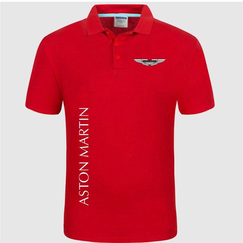Summer   Polo   Shirt Aston Martin logo Brand Men's Fashion Cotton Short Sleeve   Polo   Shirts Solid Jersey Tops Tees