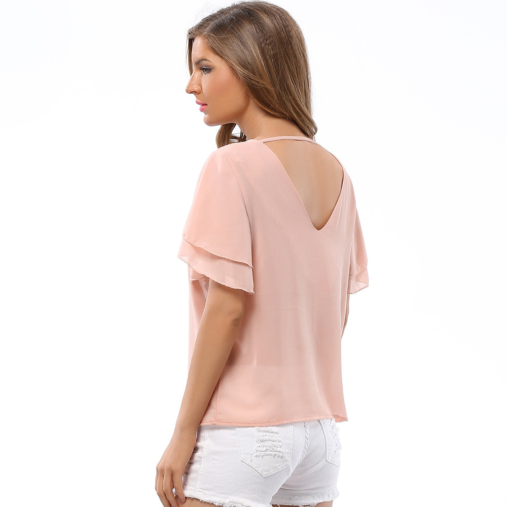 S XXL Western women summer tops ladies chiffon blouses o neck butterfly sleeve  shirts pure color tops low price free shipping-in Blouses   Shirts from ... d9991aa32865