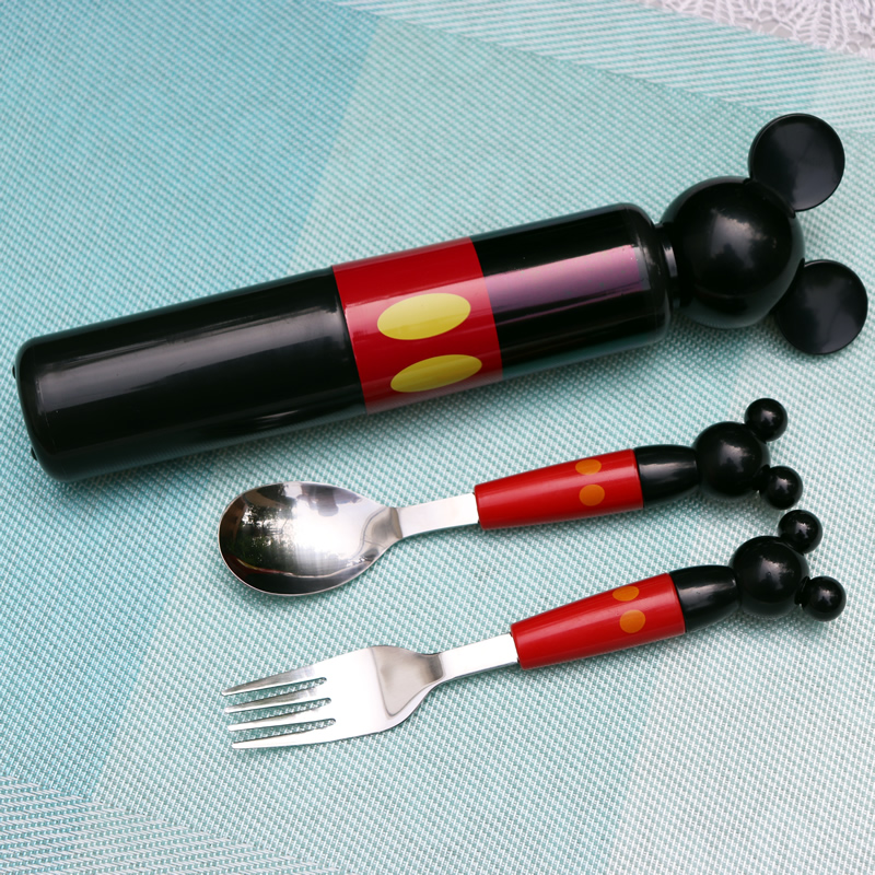 Cartoon Mickey Children Kids Stainless Steel Spoon Set Baby Safety Tableware Western Style Travel Portable Box 2pcs set in Spoons from Home Garden