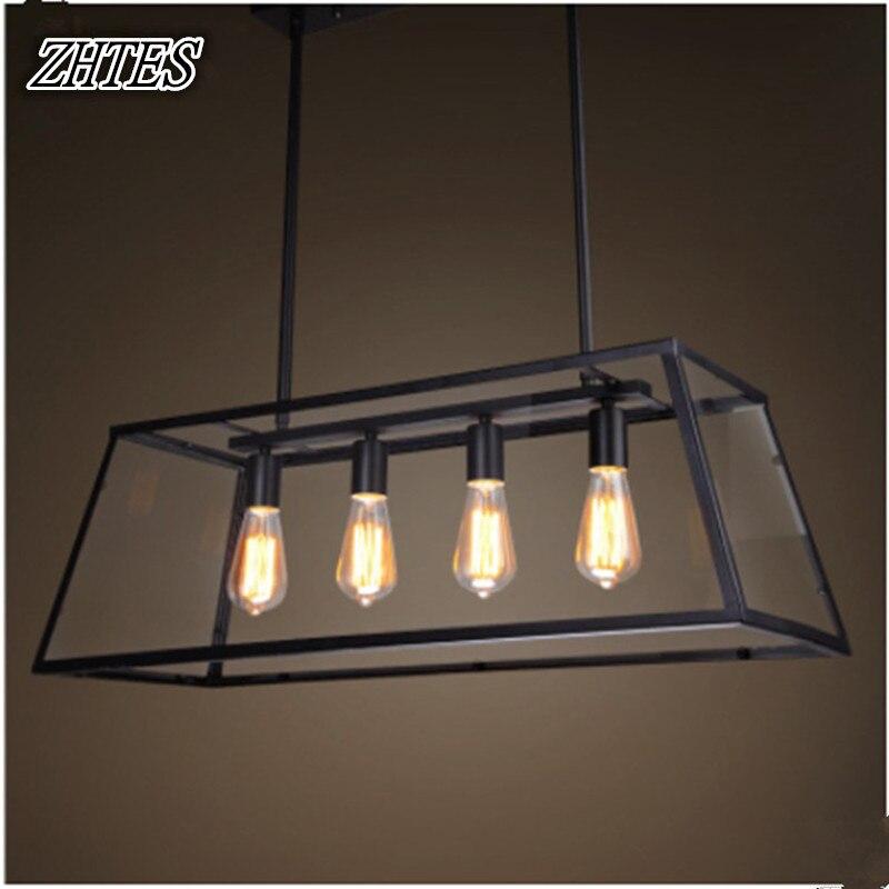 Loft créatif rétro fer salle à manger lustre américain Edison ampoule verre boîte lustre